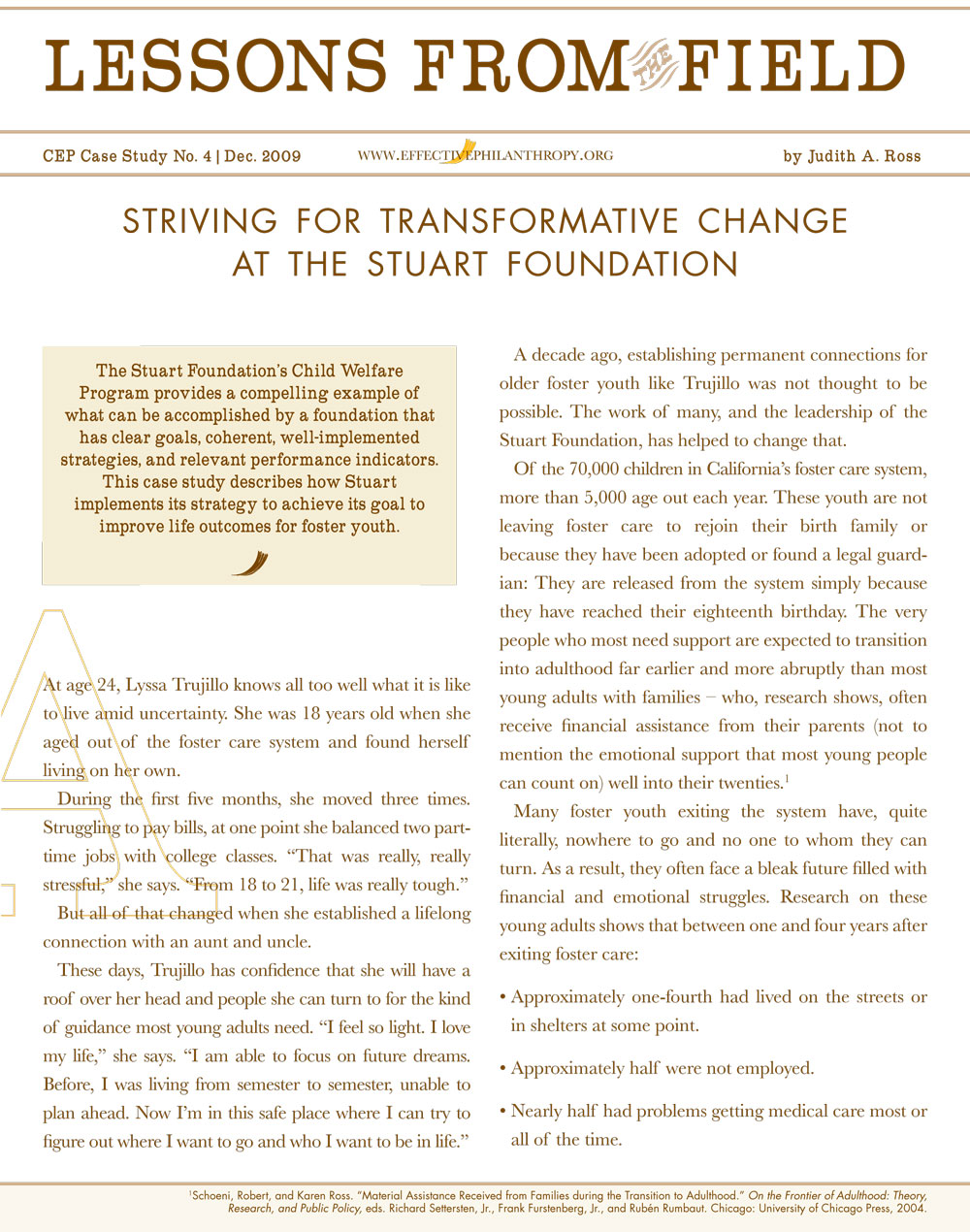 Lessons from the Field: Striving for Transformative Change at the Stuart Foundation